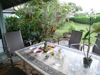 Princeville house photo - Outdoor lanai surrounded by gardens