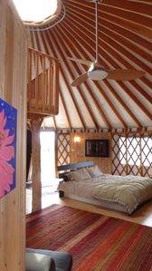 Yurt interior- ceiling fan, loft, adjustable dome