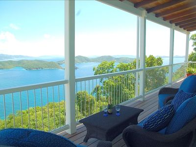 Covered decks with comfortable seating,amazing views from all parts of the home