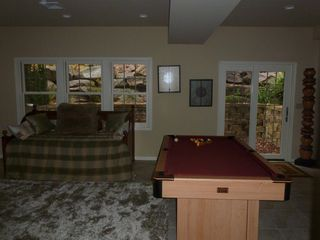Big Boulder townhome photo - Basement with Shaggy warm rug, bath, full/full bed, lower terrace...pool table