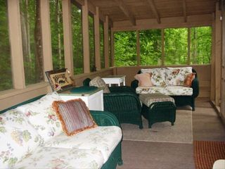 Burnsville cabin photo - Screened sleeping porch by stream