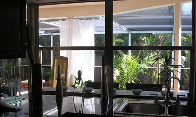 ... from where you have a lovely view of the pool while preparing great meals...