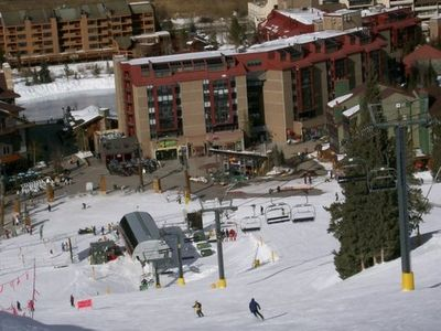 Centre village, Mountain Plaza and Eagle lift from top of Half Pipe