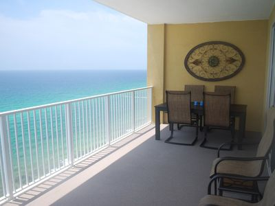 Enjoy moon lit dinners while you hear waves in your collosal 28' balcony!!