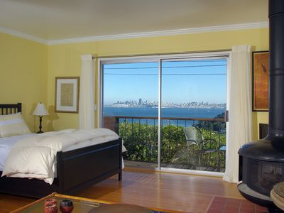 View of San Francisco and the bay from the living room toward bedroom area