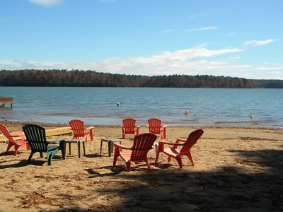 Sandy beach area to relax or swim within walking distance of the cottage.