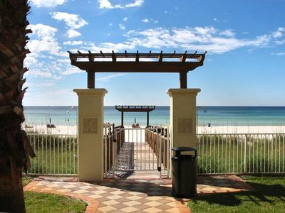 Beach entrance from pool area