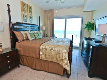 Beach Retreat Condos condo rental - King Master Bedroom With Sliders To Balcony