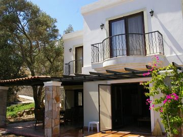 Bodrum villa rental - Sun Villa terrace, shaded by ancient olive trees