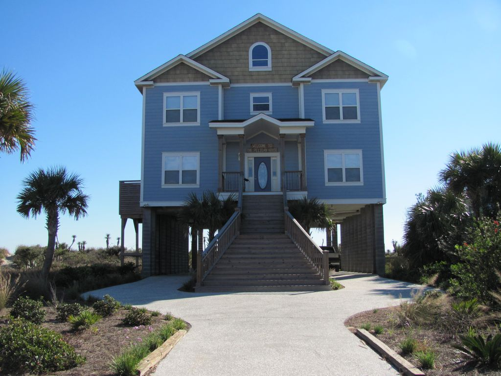Ocean Front Beach House Folly Beach HomeAway Folly Beach