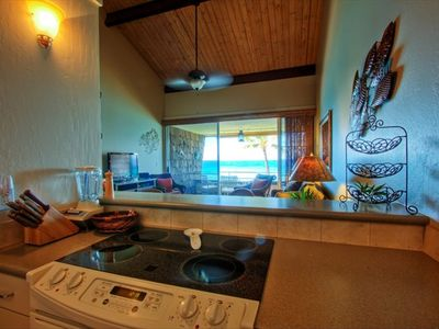Kitchen view of the lanai and ocean.  It makes cooking so much nicer.
