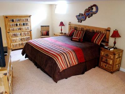 "King downstairs bedroom, private bathroom, 42"" HDTV/DirectTV/DVR, laundry."