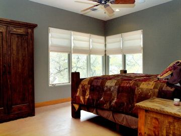Master Bedroom Suite has King Bed, Office, Spacious Bathroom, Views