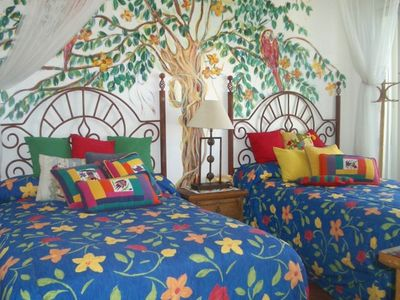 Second Master Bedroom, access to Patio, colorful Mexican Theme [2 x Queens]