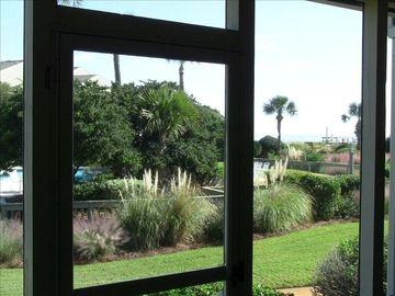 Ocean View and Peek of Pool from Screened Porch