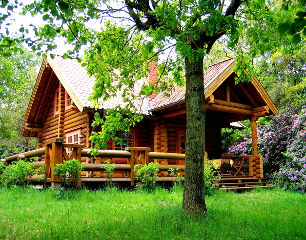 Round log block Haus am Waldsee