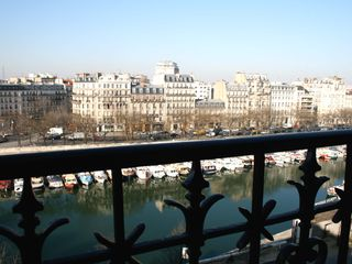 4th Arrondissement Pompidou Le Marais apartment photo - View from the Living Room - View from the Living Room towards Bastille and the canal below Bastille.