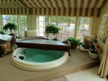 Big Boulder villa rental - Interior Hot tub with Georgous Views of lake and ski area.