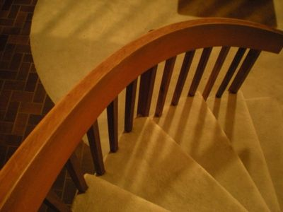 curved banister in great room