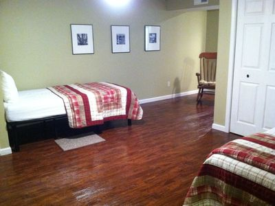 Lots of space to maneuver in lower level bedroom suite:direct access to bathroom
