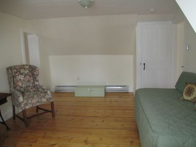 This room has room for a blow up mattress or cot Also hook up for phone and TV.