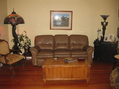 Living room reclining leather couch