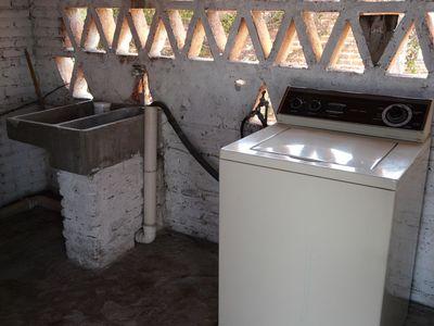Washing area and machine.