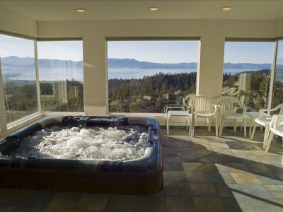 The Hot Tub With Views And It's Own Powder Room And Heated Floor