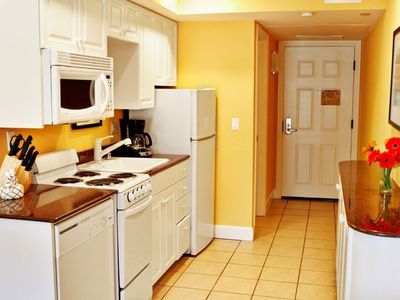 Kitchen of a One Bedroom Unit at the Carlsbad Inn Beach Resort