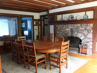 Seal Harbor house photo - Dining Room with working fireplace, seats up to 10