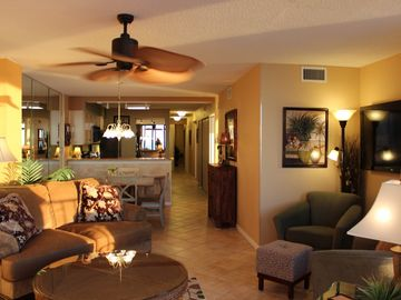 view of large unit from balcony w/ tropical ceiling fan