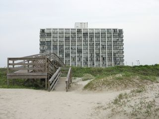 Galveston condo photo - View of Islander East from the beach access.