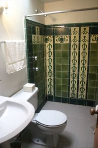 The bathroom (original Art Nouveau tiles)
