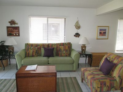 Newly refurnished livingroom with queen sleeper sofa/chair