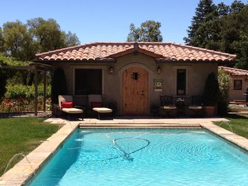 Santa Ynez cottage rental - Front view of Cellar unit with Pool