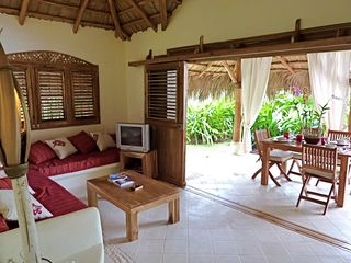 Las Terrenas villa photo - Living room and outside terrace come together. villa opposite to the entrance