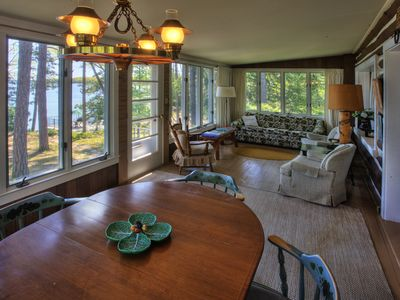 Traverse City cabin rental - .Porch off the living room, overlooking Long Lake.