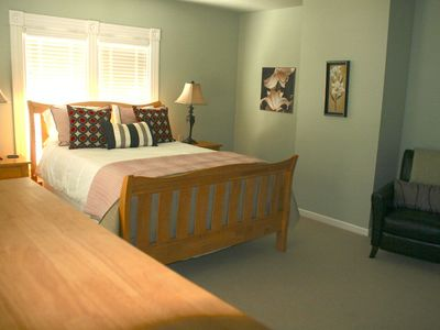 Fresh and spacious large upstairs rooms with queen beds.