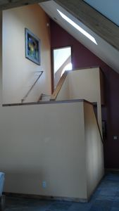 Skylight with stairs to master bedroom