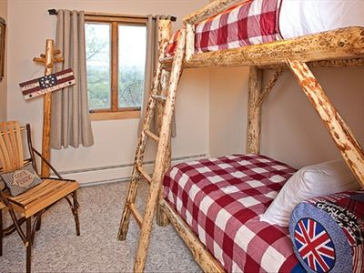 Two bedrooms have same lodge twin bunk beds, closet storage, comfy beds & linens