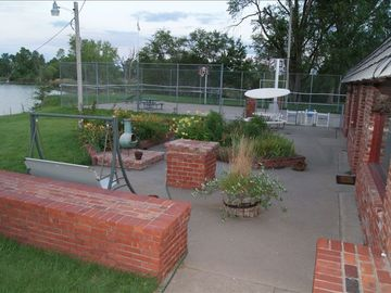 Front patio & tennis basketball court