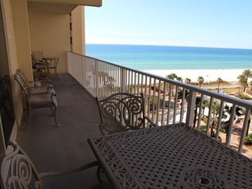 Large Balcony overlooking pool and beach