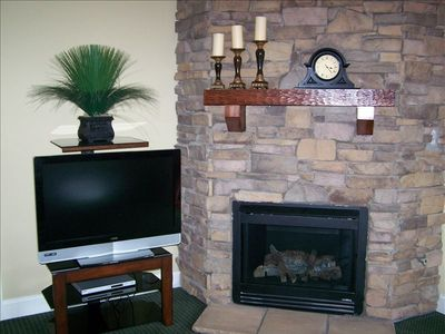 fireplace and TV in den