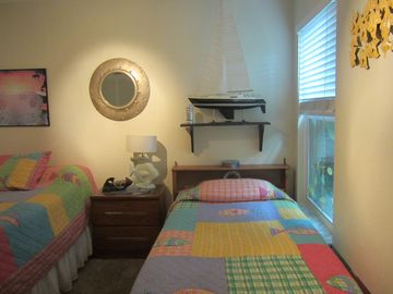 Twin bed in downstairs bedroom, large closet & dresser