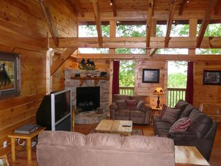 Gatlinburg cabin photo - Main Living Room With Fire Place, Large TV and PS3