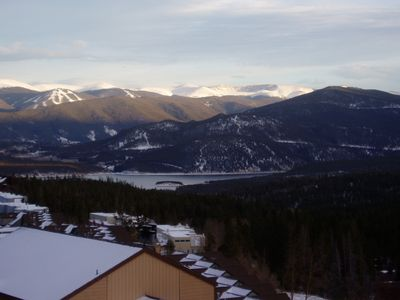 View of Lake Dillon with Keystone Ski Slopes in background. From our condo deck.