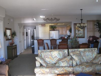 Miramar Beach condo rental - Living Room looking into Dining Area and Kitchen