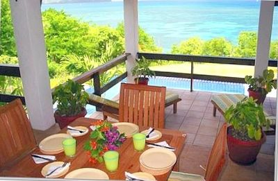 Gros Islet house rental - Veranda Dining Area With Caribbean Sea Views