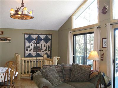 Estes Park house rental - Alternate view living room.Tall Windows,Wall of Patio Doors Open To The Mountain