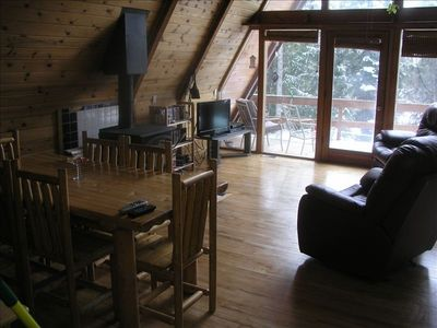 Living/dining area - front deck.  Flat screen tv with DISH - 100's of channels